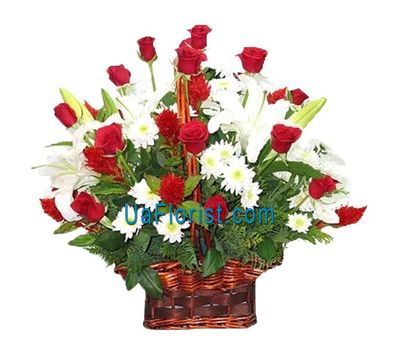 """Basket of flowers made of 19 roses, 9 chrysanthemums and 3 lilies"" in the online flower shop uaflorist.com"