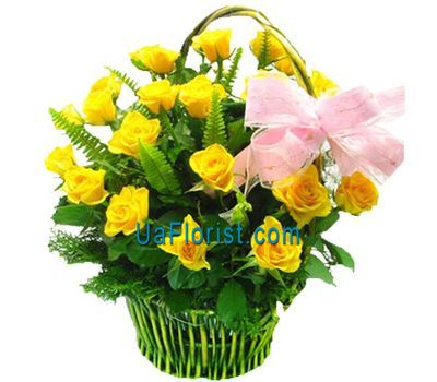 """Basket of flowers from 23 roses"" in the online flower shop uaflorist.com"