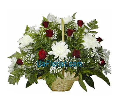 """Basket of flowers from 10 chrysanthemums and 11 roses"" in the online flower shop uaflorist.com"