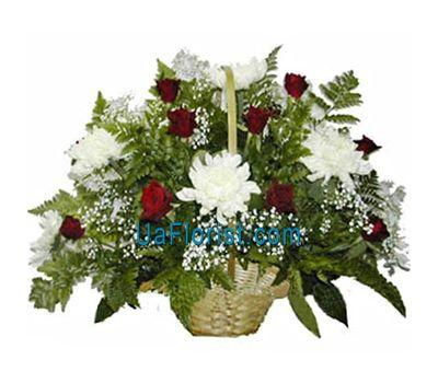 """""""Корзина цветов из 10 хризантем и 11 роз"""" в интернет-магазине цветов uaflorist.com"""