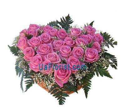 """Heart of 27 pink roses"" in the online flower shop uaflorist.com"