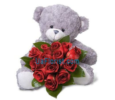 """A mouse with a bouquet of 13 roses"" in the online flower shop uaflorist.com"