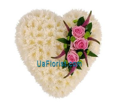 """A composition of 13 chrysanthemums and 3 roses"" in the online flower shop uaflorist.com"