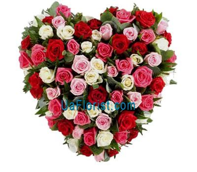 """Heart of 101 multicolored roses"" in the online flower shop uaflorist.com"