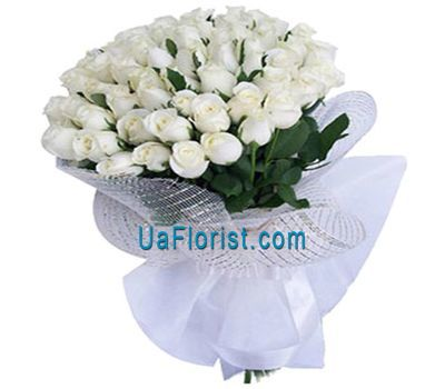 """Bouquet of 41 white imported roses"" in the online flower shop uaflorist.com"