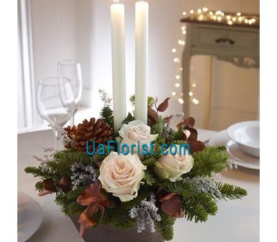 """A composition of flowers from roses to the New Year"" in the online flower shop uaflorist.com"