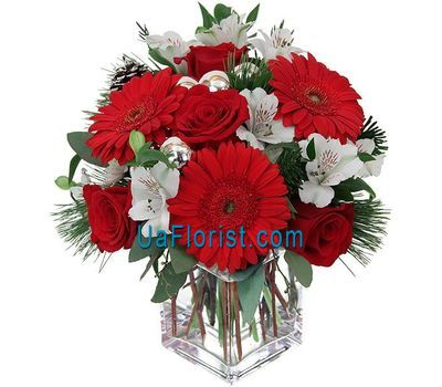 """Composition for New Year from gerberas, roses, alstromeries"" in the online flower shop uaflorist.com"
