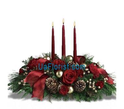 """""""Композиция из цветов на Новый год с 3-мя свечами"""" в интернет-магазине цветов uaflorist.com"""