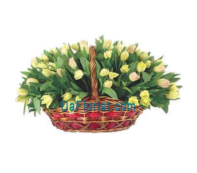 """A huge basket of 85 tulips"" in the online flower shop uaflorist.com"