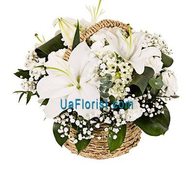 """Basket of flowers from 10 carnations and 2 lilies"" in the online flower shop uaflorist.com"