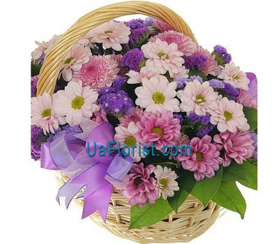 """Basket of flowers from 13 chrysanthemums and irises"" in the online flower shop uaflorist.com"