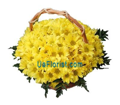 """Basket of flowers of 19 chrysanthemums"" in the online flower shop uaflorist.com"
