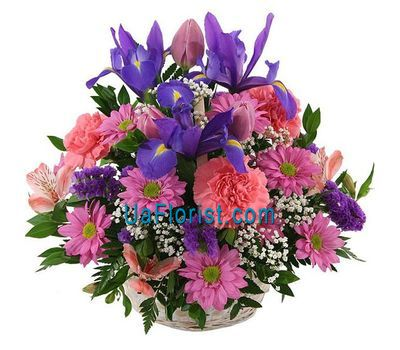 """Basket of 17 spring flowers"" in the online flower shop uaflorist.com"