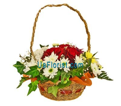 """Basket of flowers of 9 chrysanthemums and 10 roses"" in the online flower shop uaflorist.com"