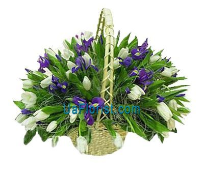 """Basket of spring flowers from 71 flowers"" in the online flower shop uaflorist.com"