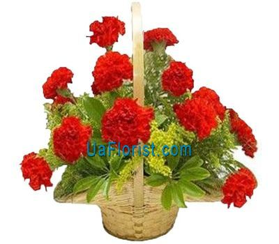 """Basket of flowers from 17 carnations"" in the online flower shop uaflorist.com"