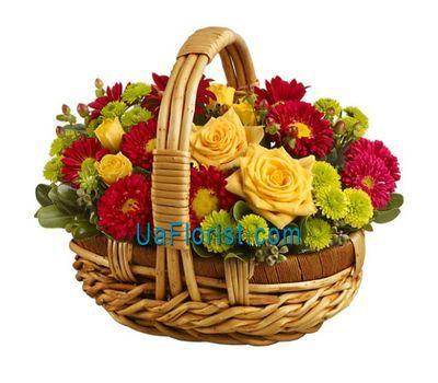 """Basket of flowers of 6 chrysanthemums, 9 gerberas and 4 roses"" in the online flower shop uaflorist.com"