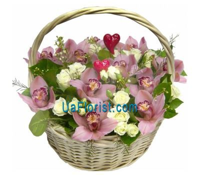 """Basket of flowers from 15 orchids and 12 roses"" in the online flower shop uaflorist.com"
