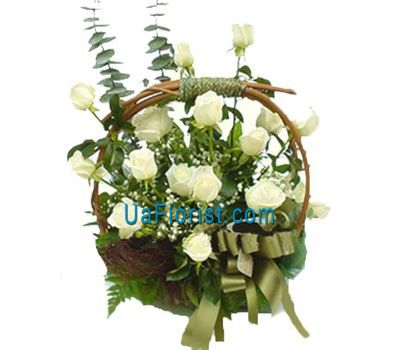 """Basket of 15 roses flowers"" in the online flower shop uaflorist.com"