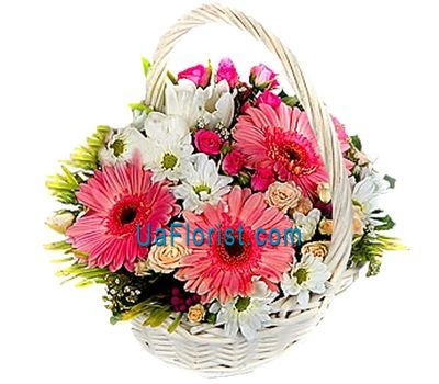 """Basket of flowers made of 6 roses, 3 gerberas and 4 chrysanthemums"" in the online flower shop uaflorist.com"
