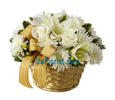 """Basket of 10 chrysanthemums, 2 alstroemerias, 8 roses and 1 lily"" in the online flower shop uaflorist.com"