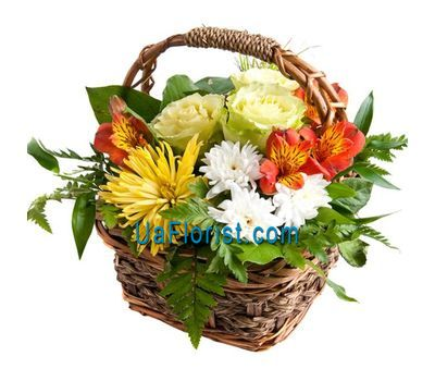 """Basket of flowers from 2 chrysanthemums, 2 alstroemerias and 3 roses"" in the online flower shop uaflorist.com"