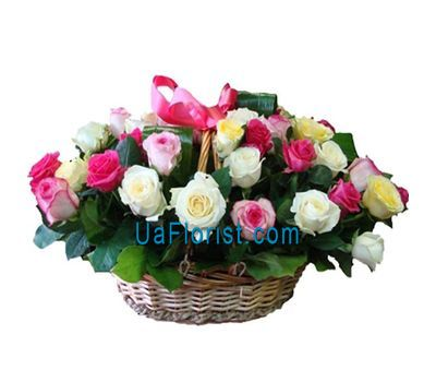 """Basket of flowers from 41 roses"" in the online flower shop uaflorist.com"