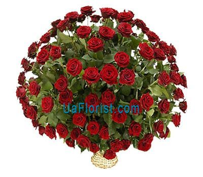"""""""Basket of flowers from 101 red roses"""" in the online flower shop uaflorist.com"""
