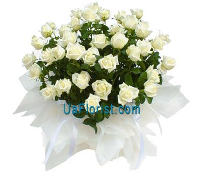 """Basket of flowers from 51 white roses"" in the online flower shop uaflorist.com"