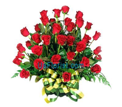 """Basket of 35 red roses"" in the online flower shop uaflorist.com"