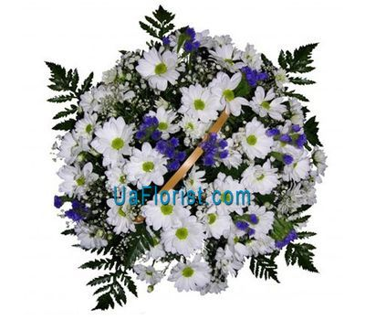 """Basket of flowers from 11 chrysanthemums and static"" in the online flower shop uaflorist.com"