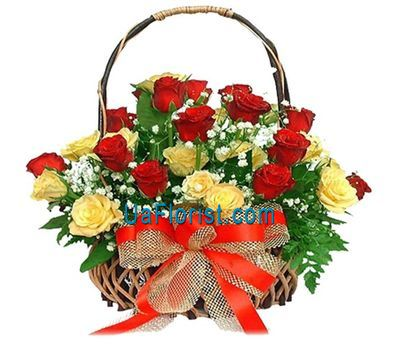"""Basket of 25 roses flowers"" in the online flower shop uaflorist.com"