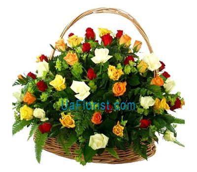 """Basket of flowers from 51 roses"" in the online flower shop uaflorist.com"