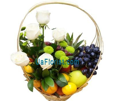 """Basket with fruits and flowers"" in the online flower shop uaflorist.com"