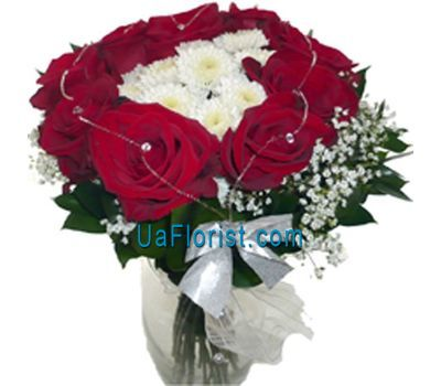 """Bouquet of 13 roses and 3 chrysanthemums"" in the online flower shop uaflorist.com"