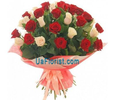 """45 white and red roses"" in the online flower shop uaflorist.com"
