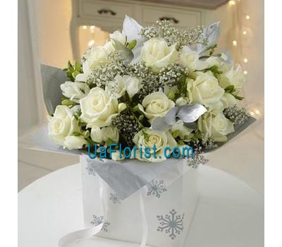"""New Year''s bouquet of flowers from roses with gypsophila'"" in the online flower shop uaflorist.com"
