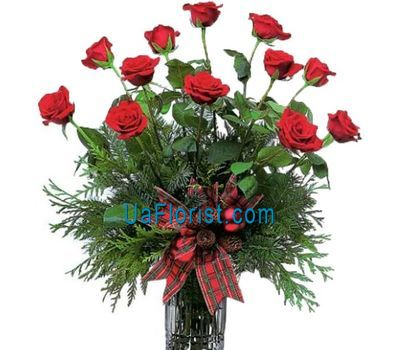 """New Year''s bouquet of roses and pine branches'"" in the online flower shop uaflorist.com"