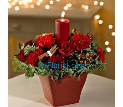 """Composition with candle, roses, spruce branches"" in the online flower shop uaflorist.com"