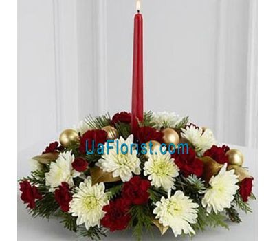 """Christmas composition with a candle"" in the online flower shop uaflorist.com"