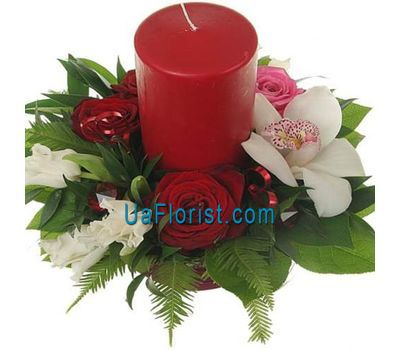 """Christmas composition with a candle - Winter evening"" in the online flower shop uaflorist.com"