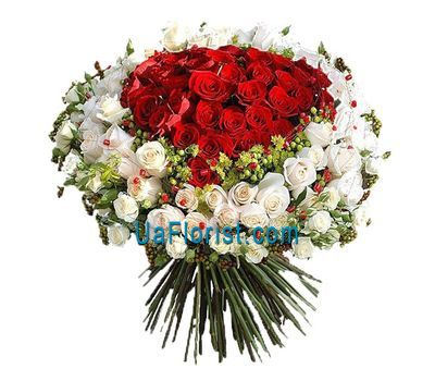 """A huge bouquet of red and white roses"" in the online flower shop uaflorist.com"