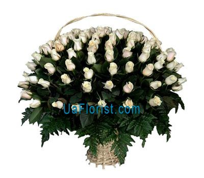 """A huge basket of 101 white imported roses"" in the online flower shop uaflorist.com"