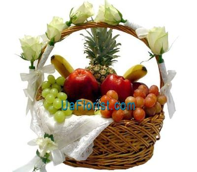 """""""A gift basket of fruits and flowers"""" in the online flower shop uaflorist.com"""