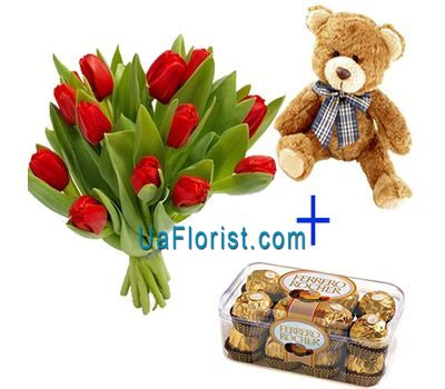 """15 tulips, mouse and candy"" in the online flower shop uaflorist.com"