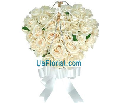 """Heart of 37 white roses"" in the online flower shop uaflorist.com"