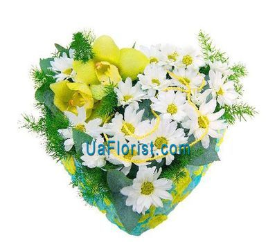 """Heart of 5 chrysanthemums and 2 orchids"" in the online flower shop uaflorist.com"