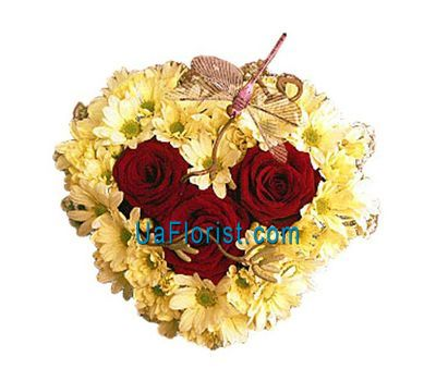 """Heart of 9 chrysanthemums and 3 roses"" in the online flower shop uaflorist.com"
