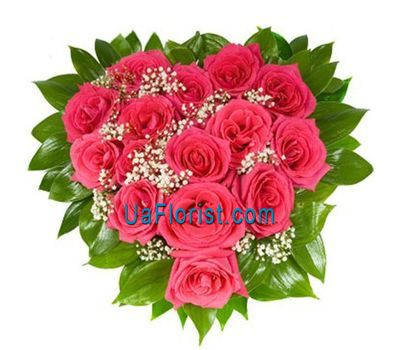 """Heart of 15 roses"" in the online flower shop uaflorist.com"