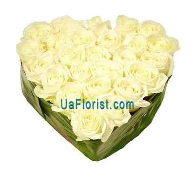 """Heart of white roses"" in the online flower shop uaflorist.com"